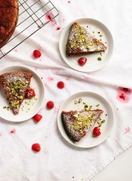 Honey Almond Cake with Raspberries, Orange and Pistachios