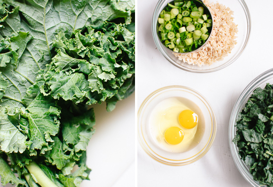 kale, green onions, rice and eggs