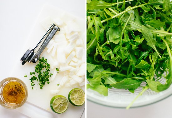 lime dressing and arugula