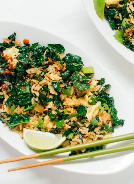 Spicy stir-fried kale with coconut and rice (gluten free) - cookieandkate.com