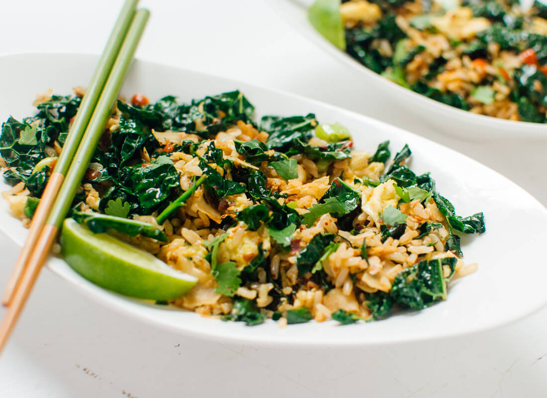 Thai stir-fried kale with coconut and rice