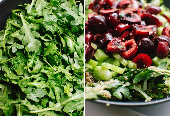 Arugula, cherries and celery salad - cookieandkate.com