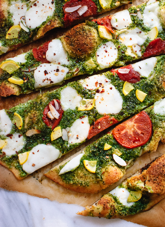 Homemade basil-almond pesto pizza with a simple whole wheat crust - cookieandkate.com