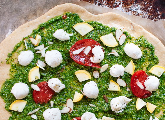 Arugula pesto pizza with fresh mozzarella - cookieandkate.com
