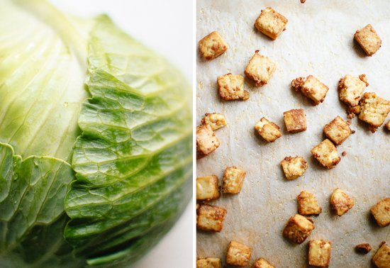 cabbage and baked tofu