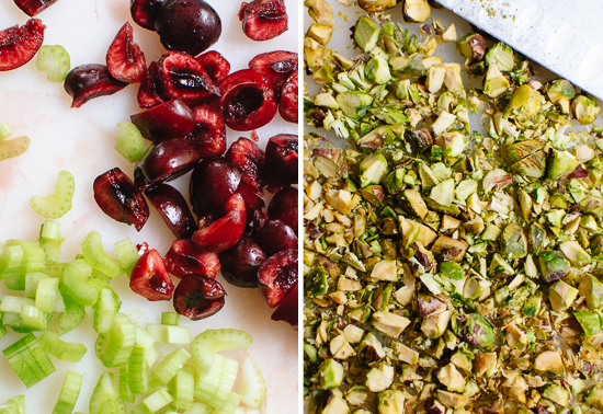 cherries, celery and pistachio