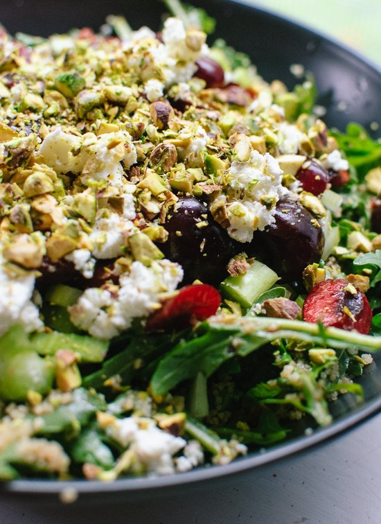 Cherry and arugula salad with goat cheese and pistachios - cookieandkate.com