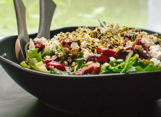 Cherry, couscous and arugula salad - cookieandkate.com