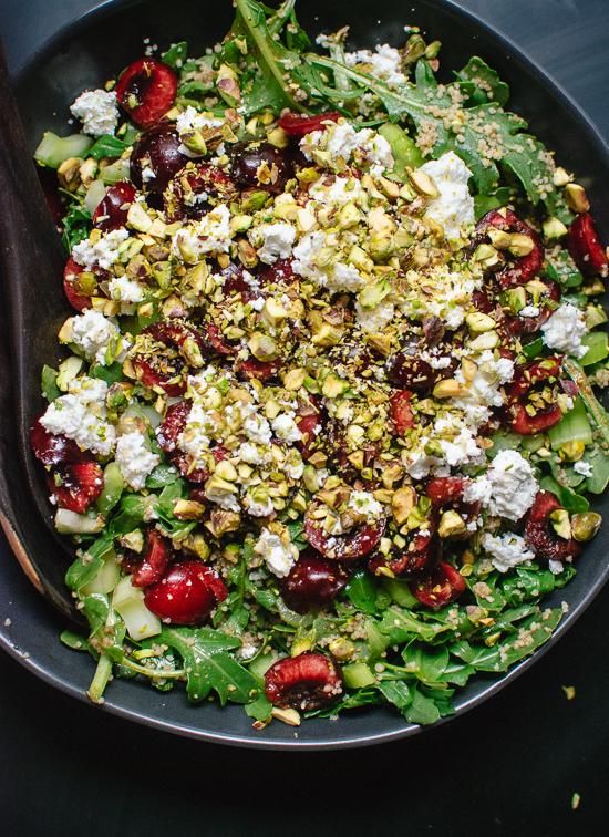 Cherry, couscous, arugula and pistachio salad in balsamic vinaigrette - cookieandkate.com