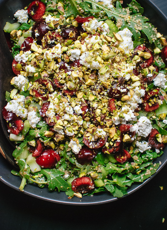 Cherry, couscous, arugula and pistachio salad in balsamic vinaigrette - cookieandkate.com