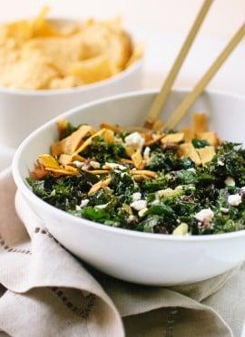 Feta Fiesta Kale Salad with Avocado and Crispy Tortilla Strips