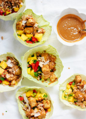 Thai Mango Cabbage Wraps with Crispy Tofu and Peanut Sauce