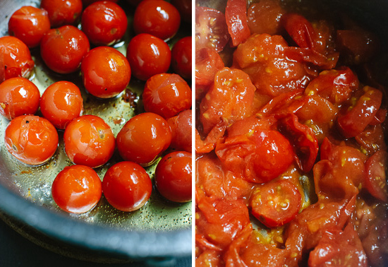 burst cherry tomatoes