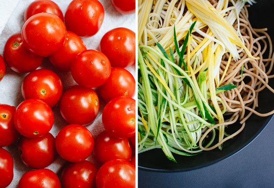 cherry tomatoes and squash spaghetti