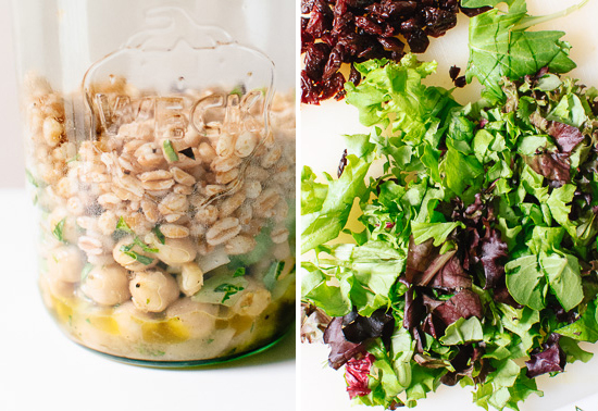 chickpea, farro and greens salad