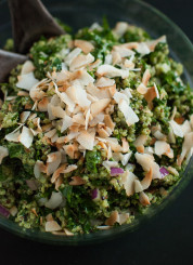 coconut quinoa with kale and cilantro-cashew pesto - cookieandkate.com