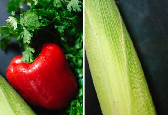 corn, bell pepper and cilantro