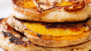 Caramelized Peach and Oat Pancakes