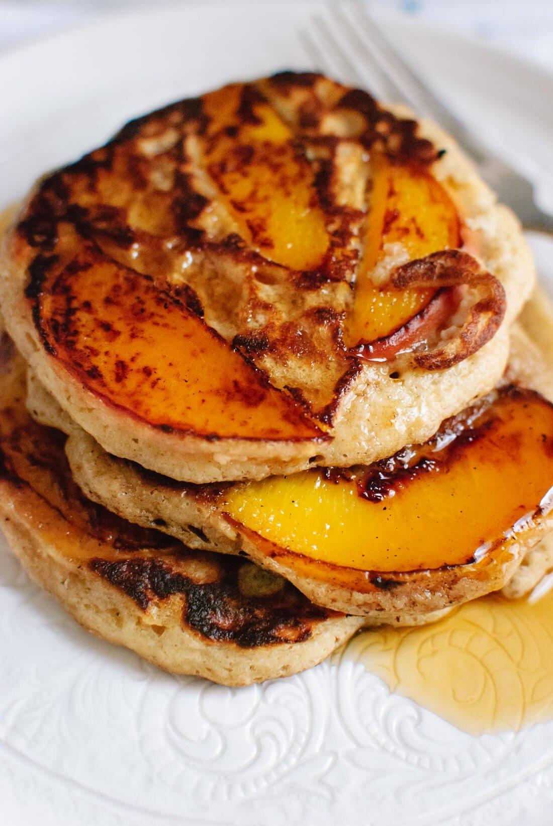 Gluten-free peach pancakes