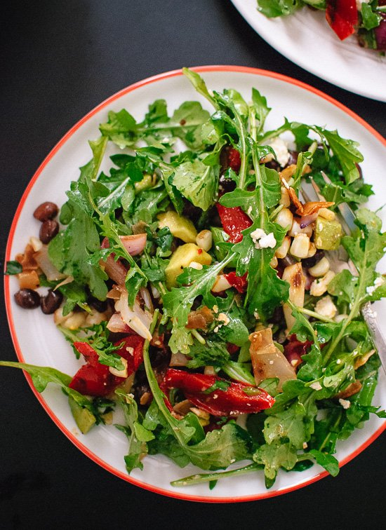 Vegetarian grilled summer salad with fresh arugula, black beans and feta - cookieandkate.com