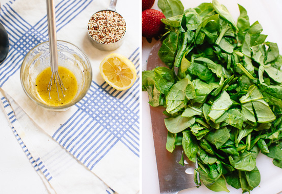 lemon dressing and chopped spinach
