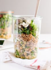 Mason jar, chickpea, farro and greens salad - cookieandkate.com