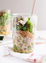 Mason jar, chickpea, farro and greens salad - cookieandkate.com