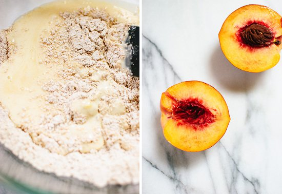 Pancake batter and peaches