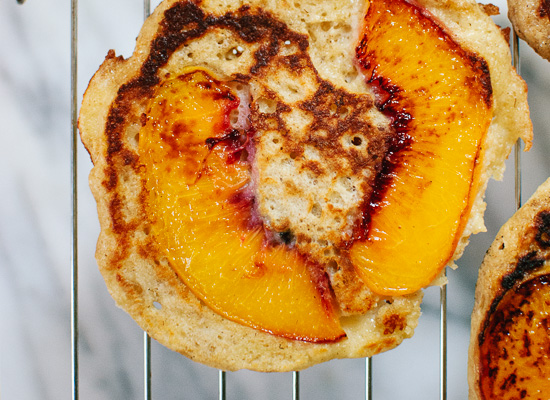 Peach upside-down pancakes - cookieandkate.com