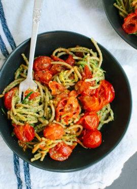 Pesto Squash Noodles and Spaghetti with Burst Cherry Tomatoes