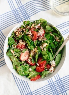 Strawberry and Spinach Salad with Quinoa and Goat Cheese