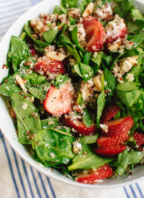 Summer salad with strawberries, spinach, quinoa, almonds and goat cheese - cookieandkate.com