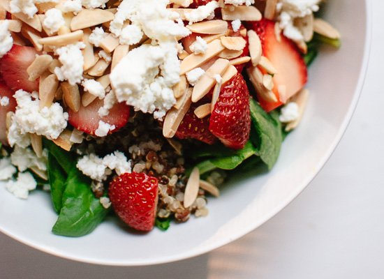 Strawberry, spinach, quinoa, goat cheese salad - cookieandkate.com