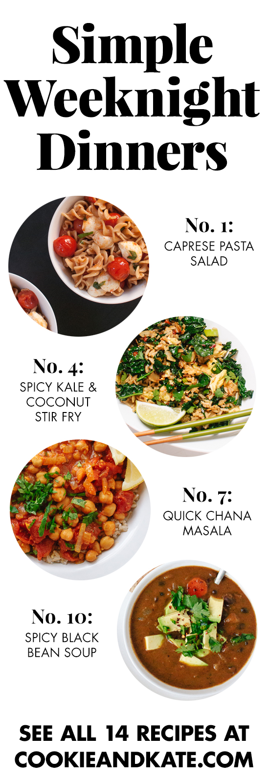 14 easy and healthy dinner recipes for busy weeknights! Find them at cookieandkate.com