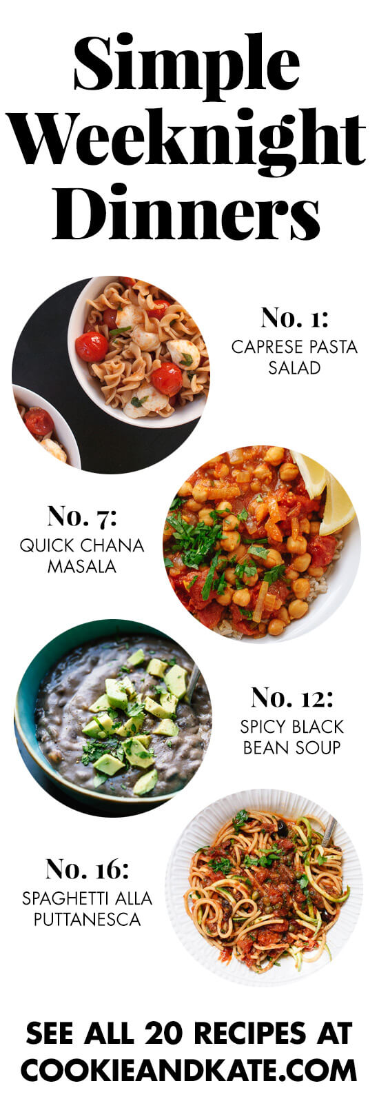 20 easy and healthy dinner recipes for busy weeknights! Find them at cookieandkate.com