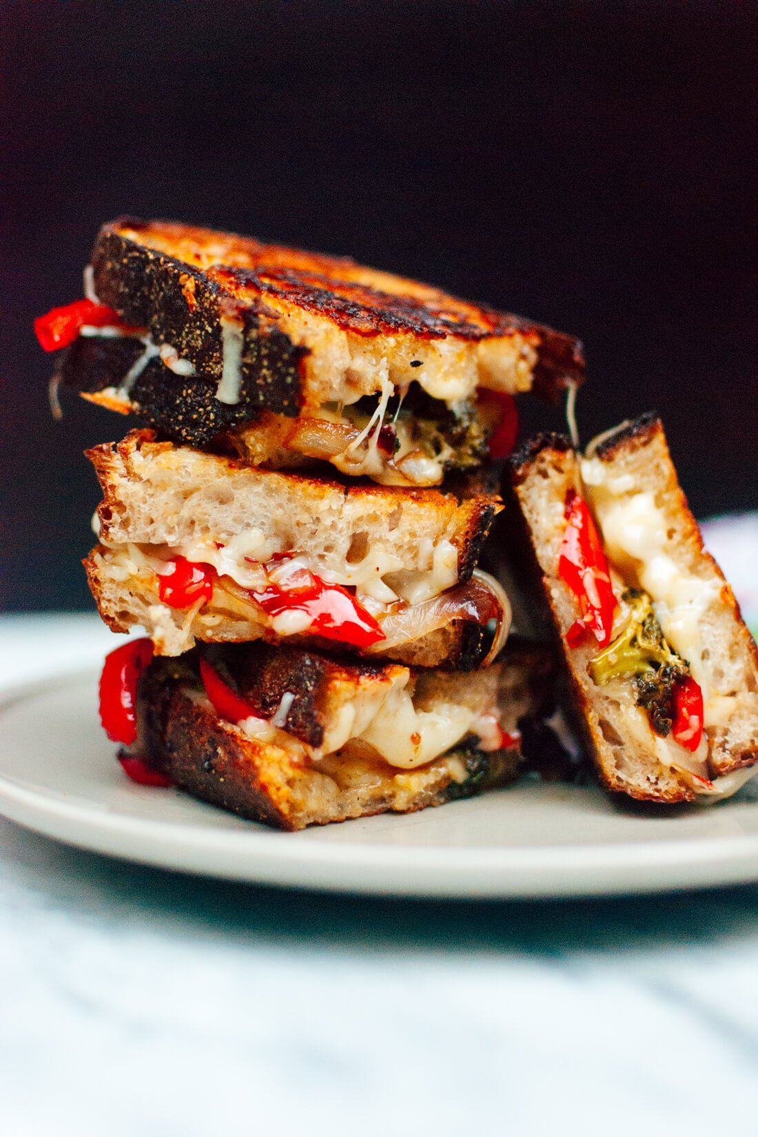 Balsamic roasted broccoli, red pepper and onion grilled cheese sandwiches