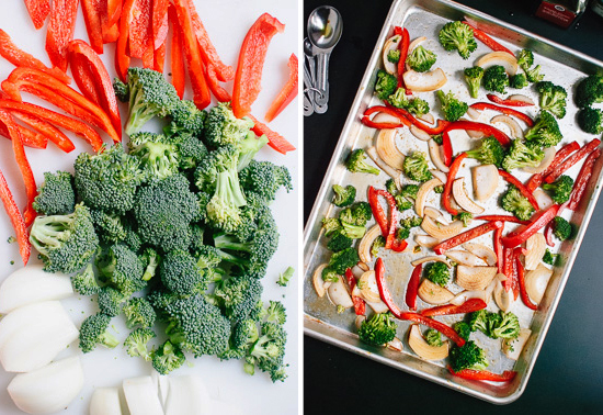 broccoli, red pepper and onions