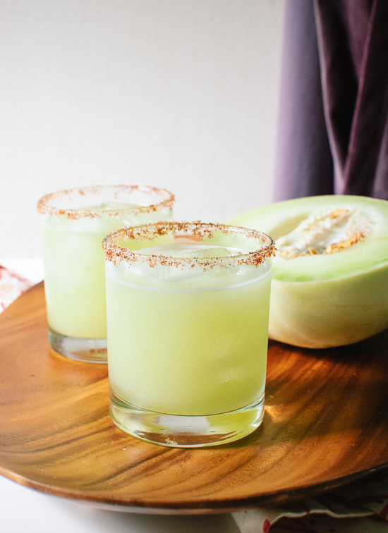 Blend honeydew melon, then add tequila and lime! cookieandkate.com