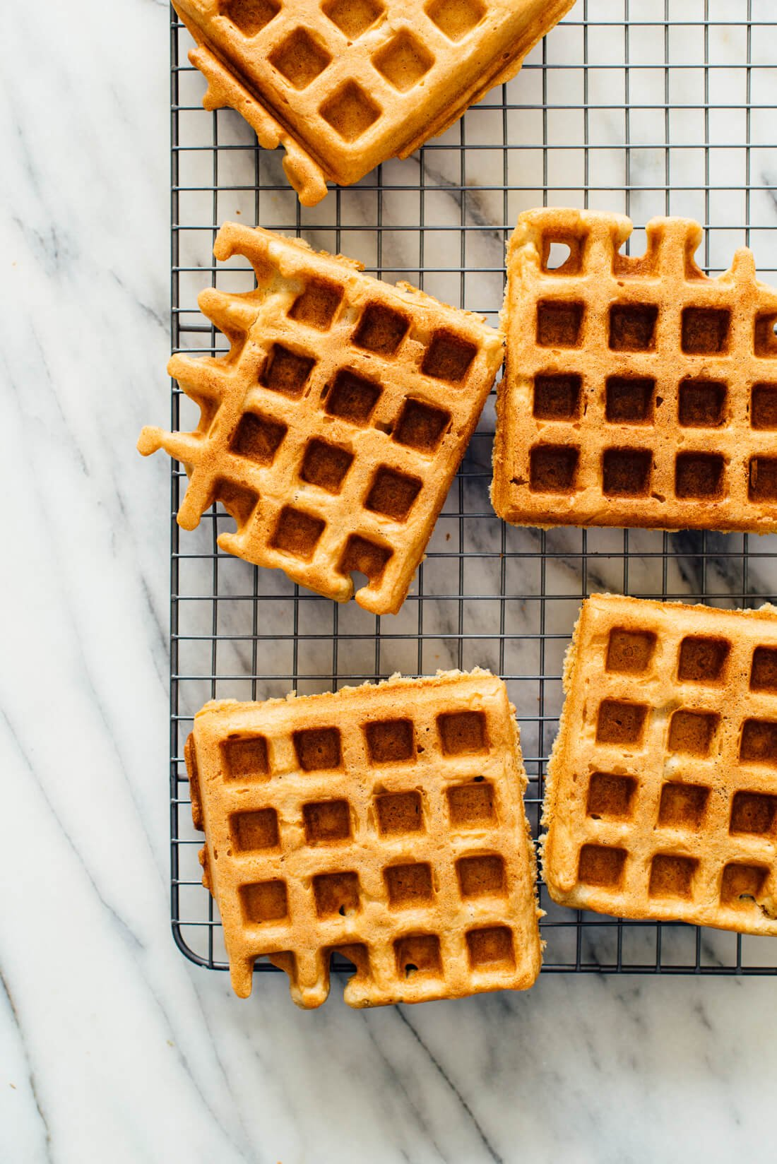 Gluten-free oat flour waffles on cooling rack