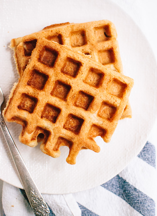 Crispy, fluffy waffles made with oat flour! So easy. So delicious. cookieandkate.com