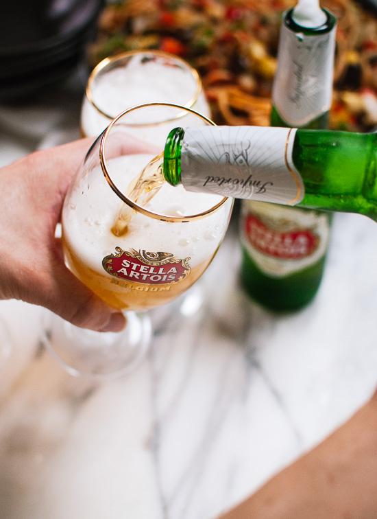 Pouring Stella Artois - cookieandkate.com