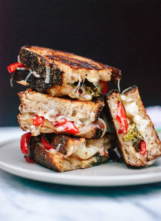 Balsamic roasted broccoli, red pepper and onion grilled cheese sandwiches - cookieandkate.com