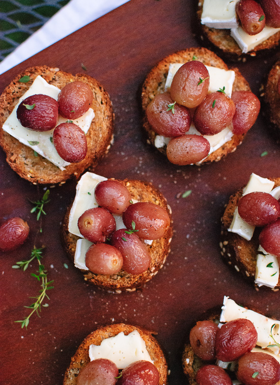 Simple roasted grape crostini recipe - cookieandkate.com