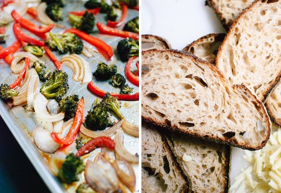roasted vegetables and bread