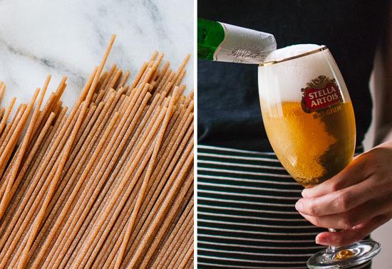 Spaghetti and Stella Artois