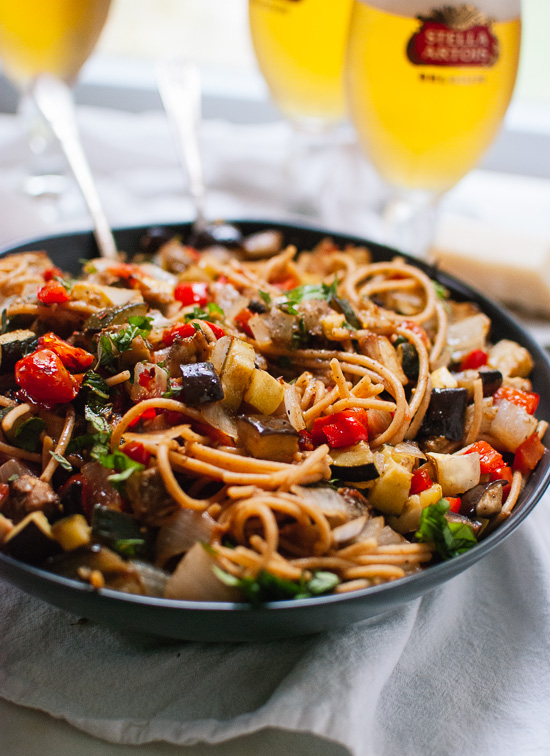 Spicy roasted ratatouille spaghetti recipe - cookieandkate.com