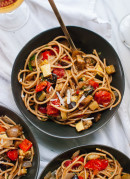A simple, vegetarian summer meal of roasted ratatouille and spaghetti! - cookieandkate.com