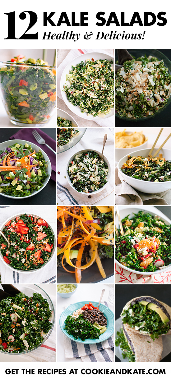 Find 12 healthy and delicious kale salad recipes at cookieandkate.com!