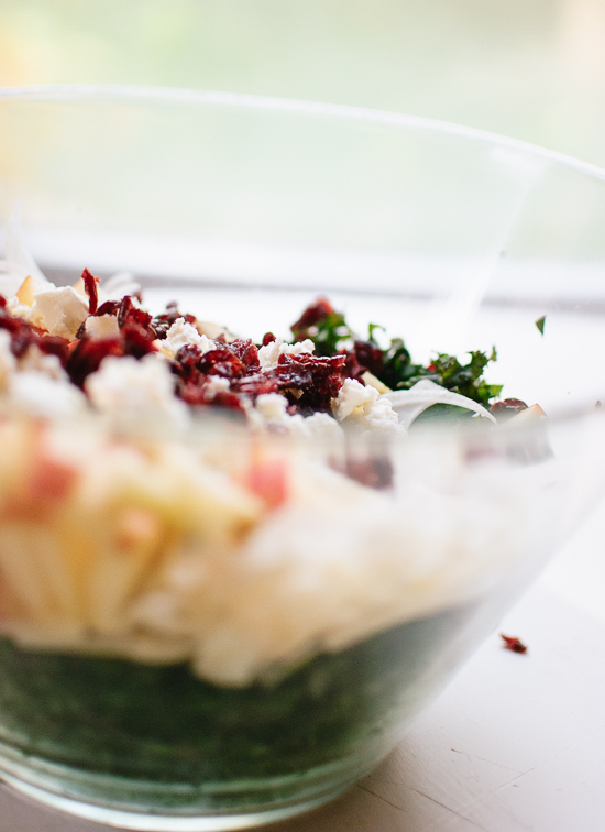 Dried cranberry and goat cheese kale salad - cookieandkate.com