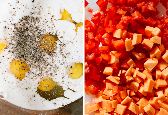 eggs, red pepper and sweet potatoes